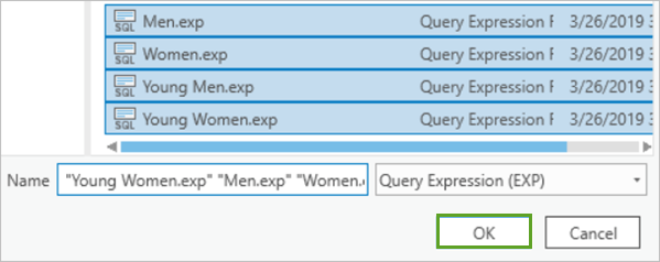 Four queries selected in the browse dialog