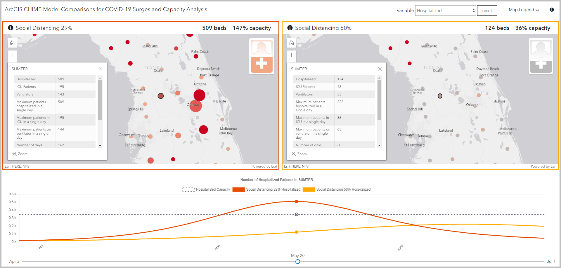 Modeled hospital patients in Sumter county, Florida, from the example Capacity Analysis app