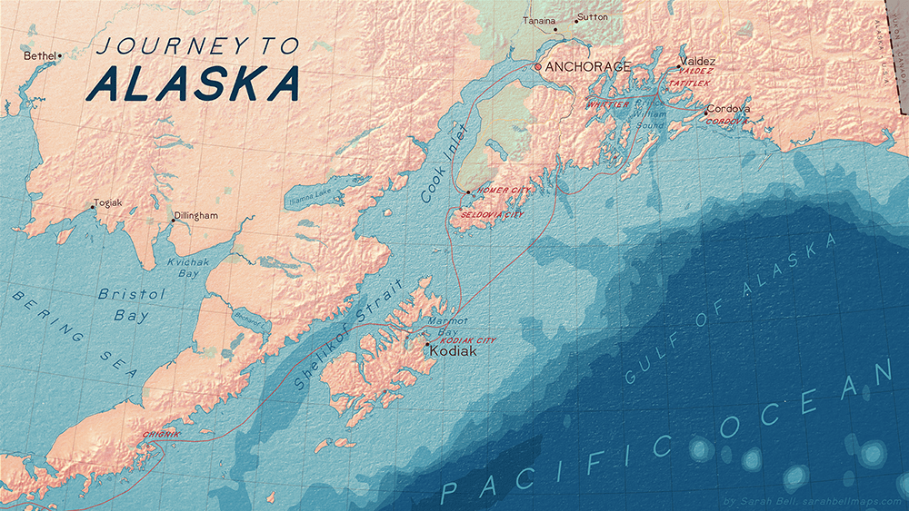 Map of Alaska using BellTopo Sans font