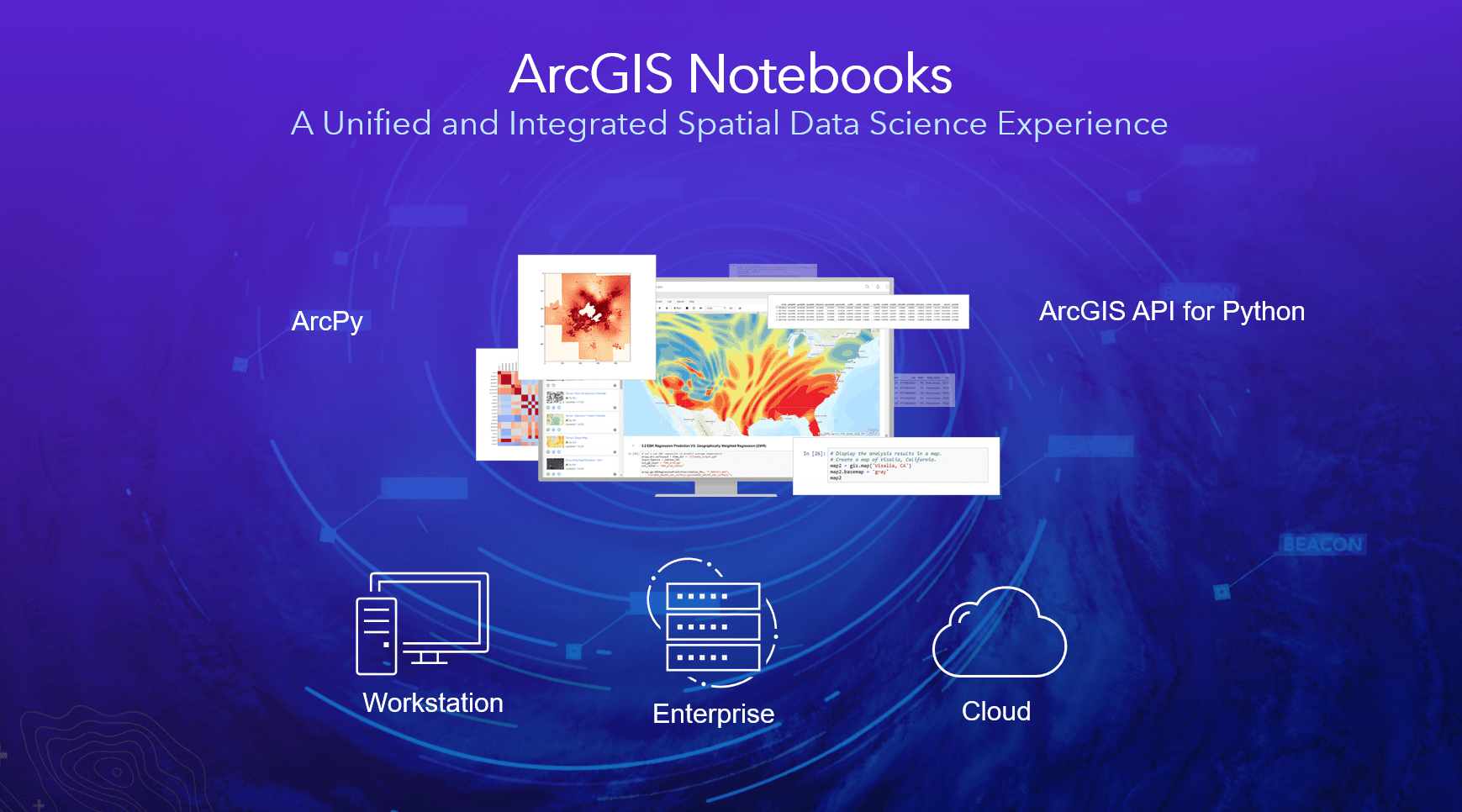 ArcGIS Notebooks can be deployed on premise, in the cloud or on your desktop.