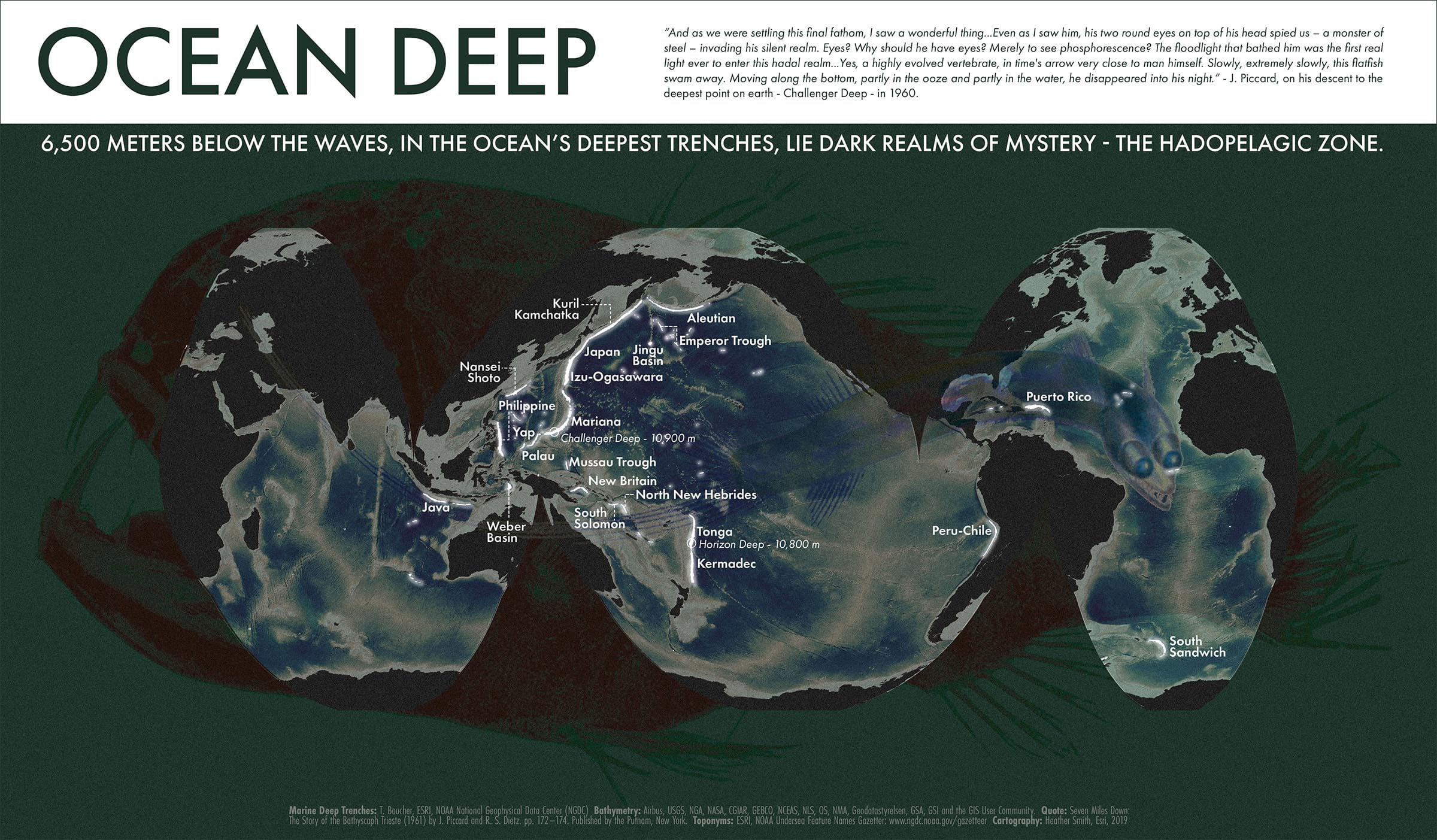 Sci-fi inspired map of ocean trenches