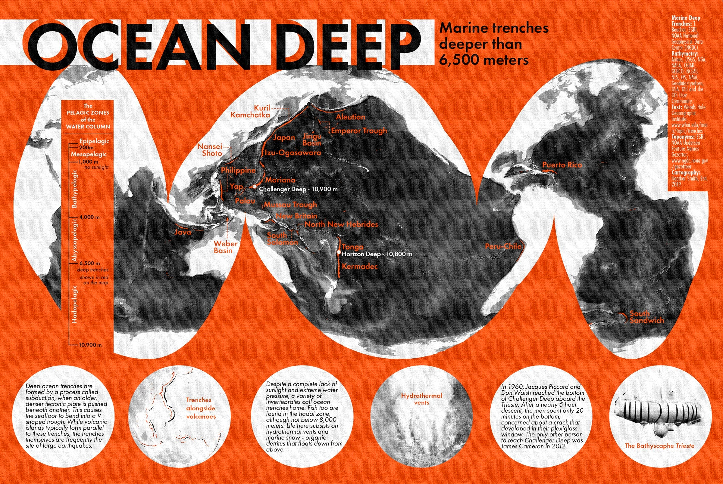 Textbook-inspired map of ocean trenches