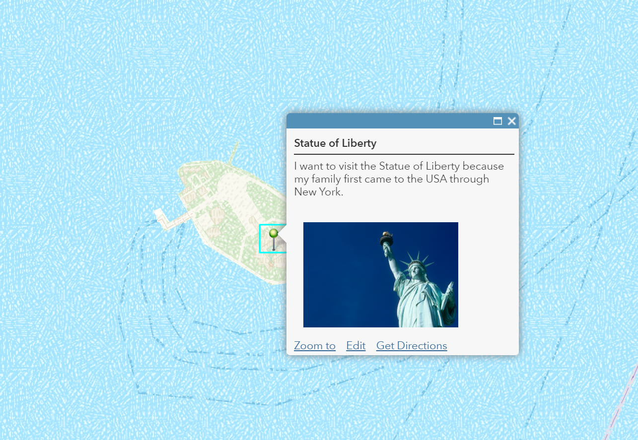 pin pop up for the Statue of Liberty