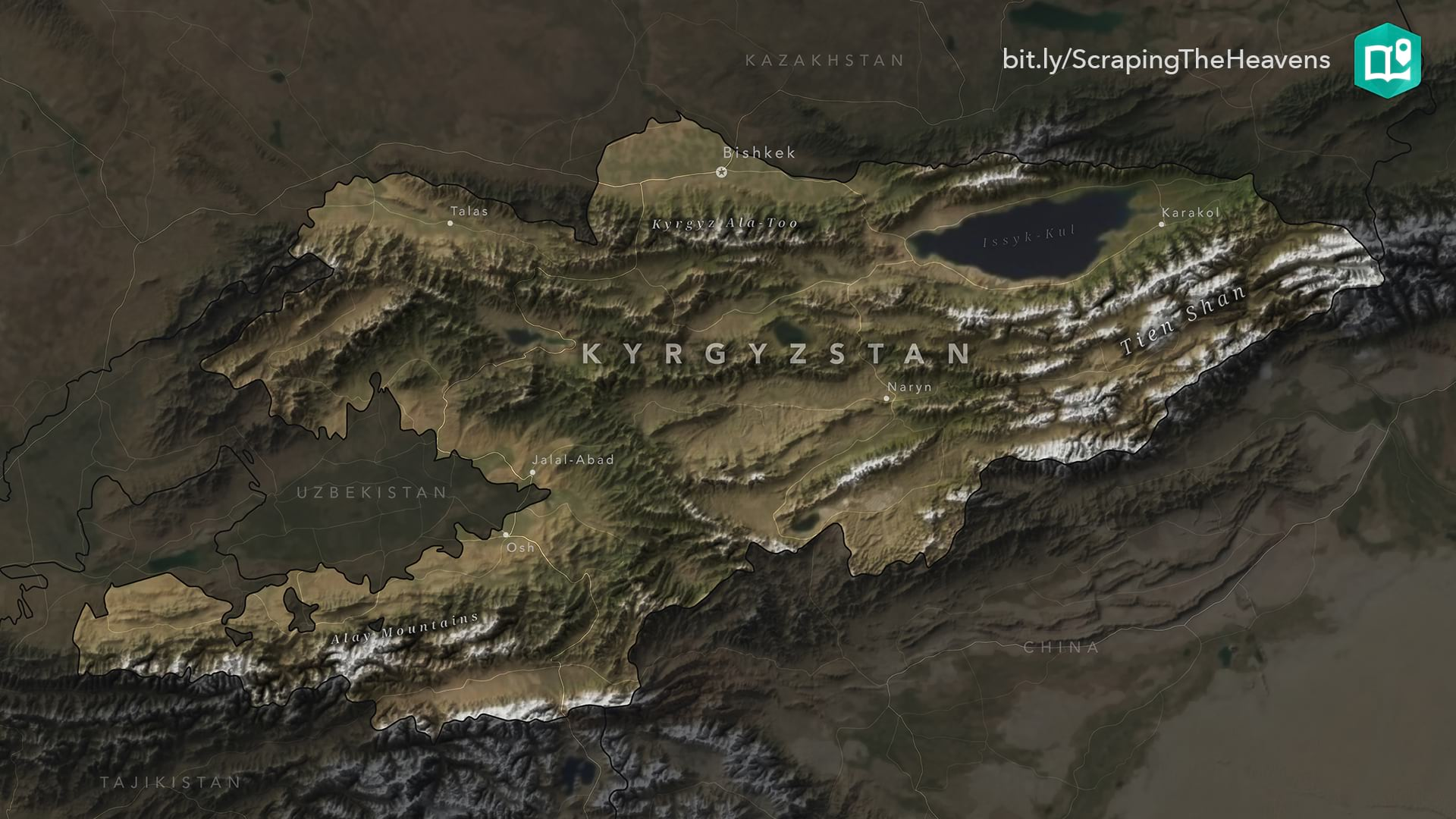 Exaggerated relief map of Kyrgyzstan