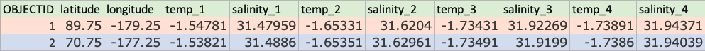 table with two rows and multiple columns representing different attributes for each row
