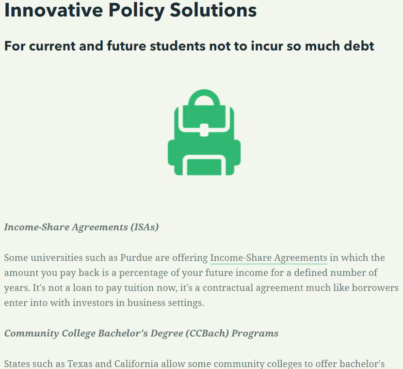 """Header says """"innovative policy solutions for current and future students not to incur as much student loan debt"""" then an icon of a backpack in green, then the paragraph text."""