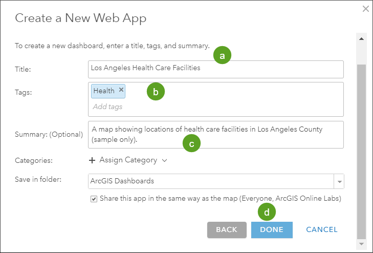 ArcGIS Dashboards tab
