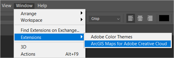 The ArcGIS extension in Photoshop's Window menu