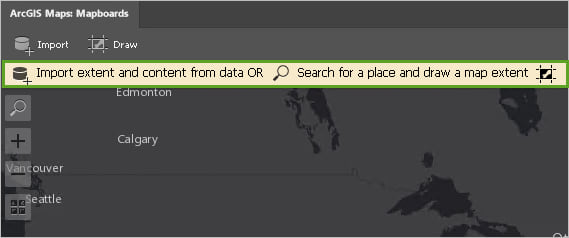 The yellow banner reads: Import extent and content from data OR Search for a place and draw a map extent