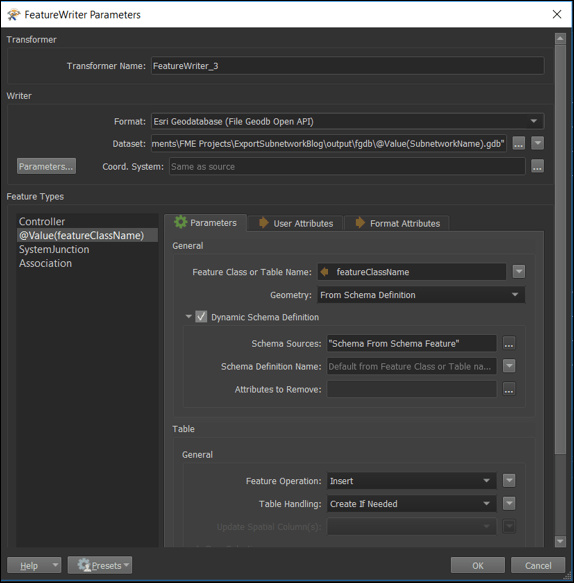 Feature Writer parameter