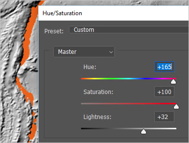 Hue set to 165, saturation set to 100, lightness set to 32