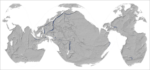 Map of the oceans with white land