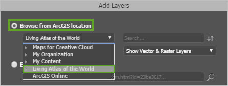 Living Atlas selected in the Add Layers window