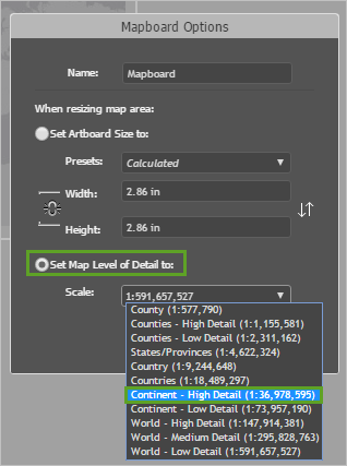 Mapboards Options window set to Level of Detail