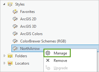 Manage option on the context menu of the NorthArrow style in the Catalog pane