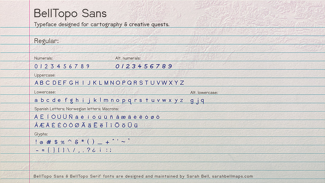 BellTopo Sans Regular on styled notebook paper