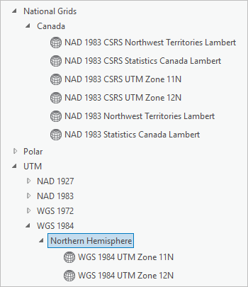 Projected coordinate systems list with National Grids > Canada and UTM > WGS 1984 expanded
