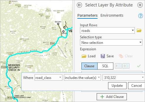 Select Layer by Attribute tool with the following clause: Where road_class includes the values 310,322