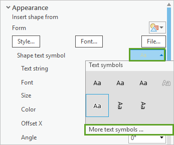 More text symbols in the Shape text symbol picker