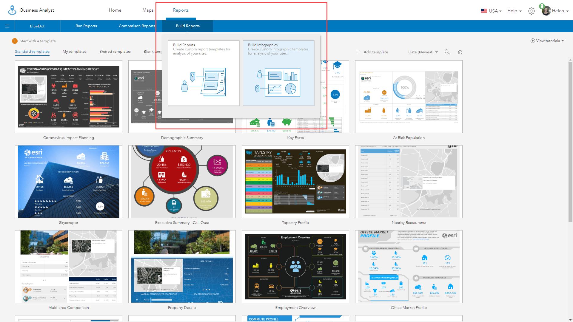 Build infographics menu