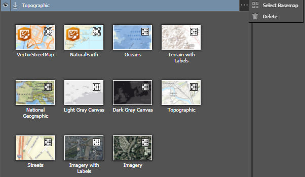 Basemap selector Maps for Adobe