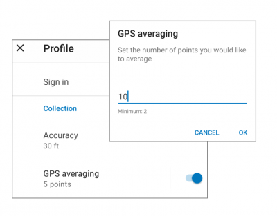 Collector GPS Averaging settings