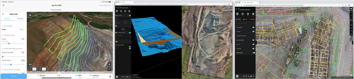 Screenshots of SIte Scan apps for working with drone imagery
