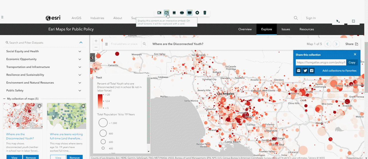 Screenshot of adding the URL to the collection of policy maps as an interactive embed within ArcGIS StoryMaps.