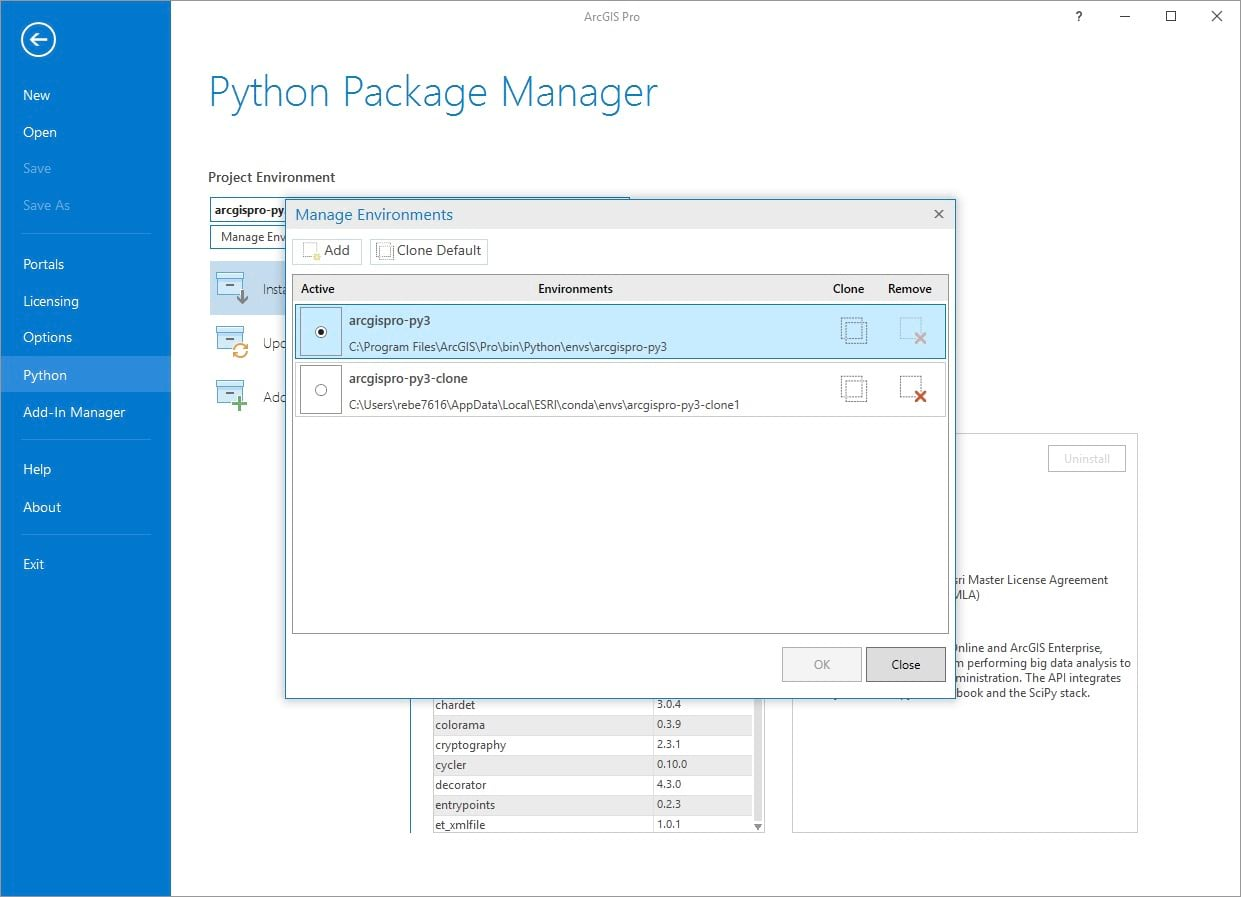 Screenshot of the python manager in ArcGIS Pro
