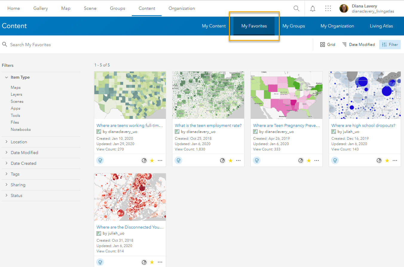 These 5 maps appear in My Favorites in my ArcGIS Online account.