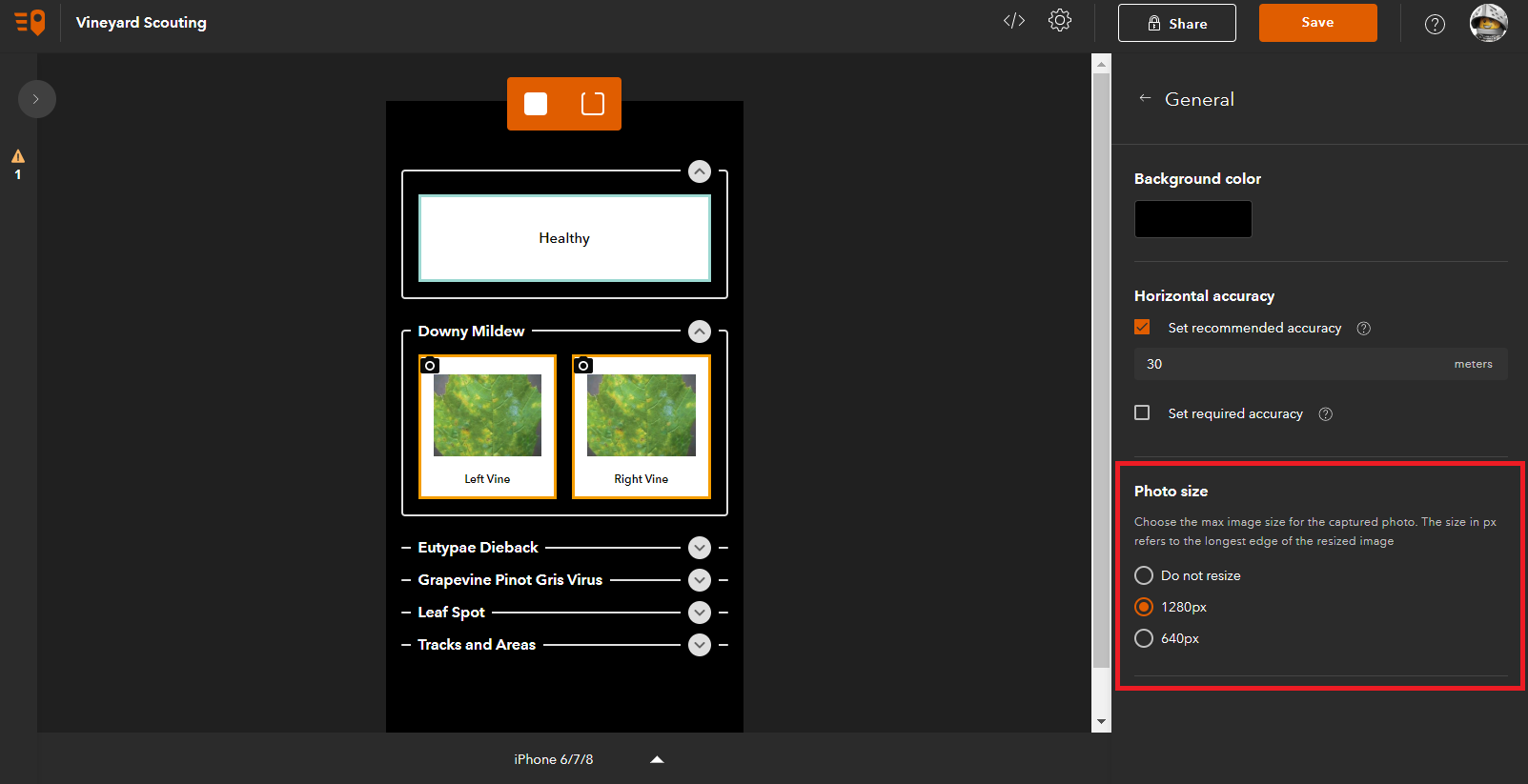 Control the size of photos in your QuickCapture project