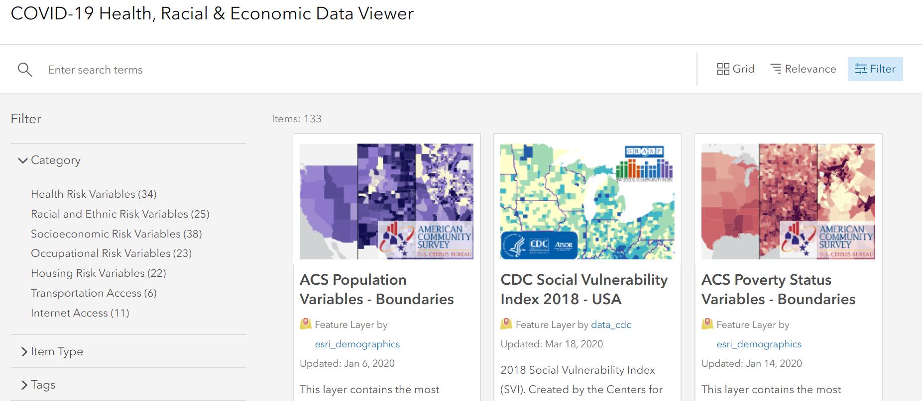 Screenshot of COVID-19 Health Racial & Economic Data Viewer