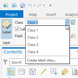 Add label classes on the Labeling tab of the ribbon