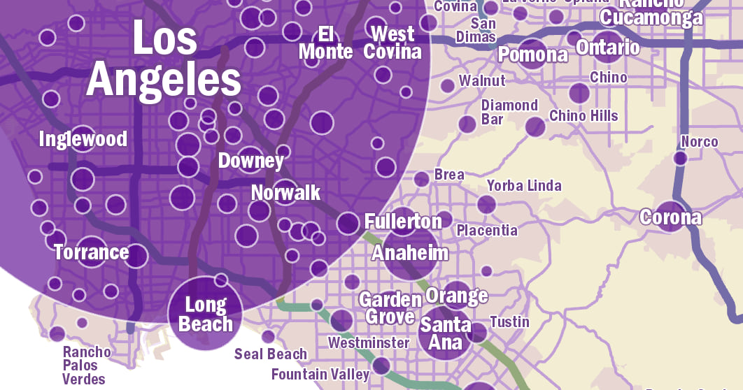 Cities of different sizes with labels of different sizes