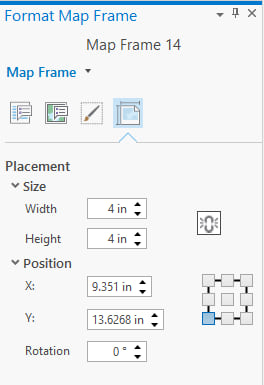 Set map frame size on the Placement tab