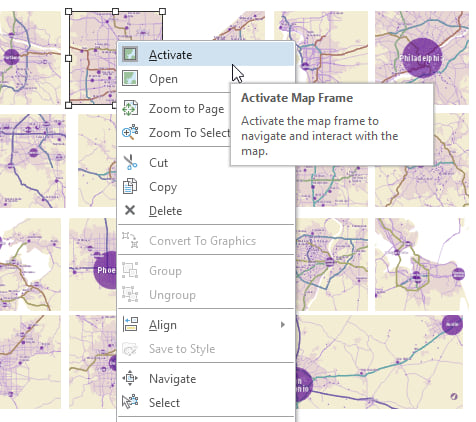 Activate a map frame from the context menu