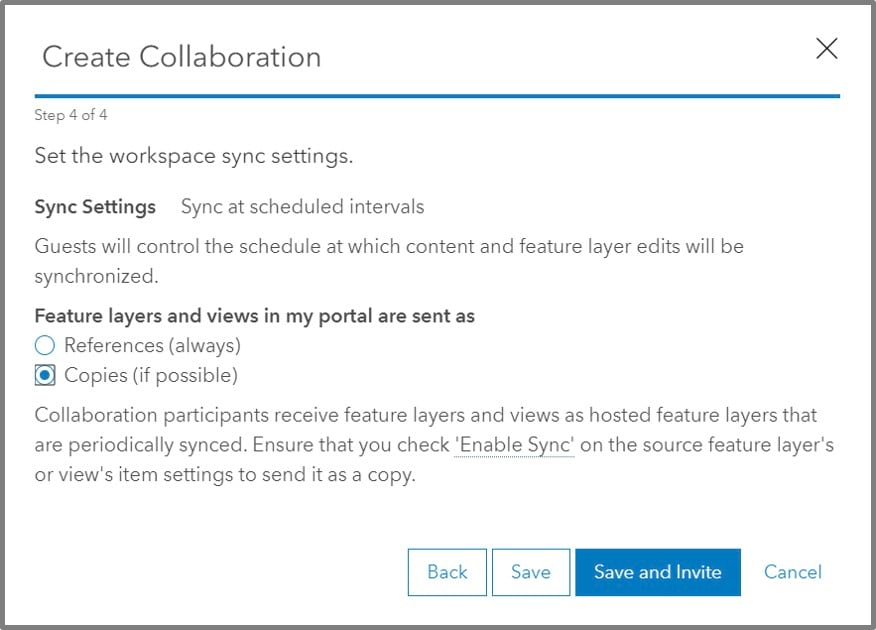 Choose to sync data by copy or reference. For most instances, you will want to copy features.