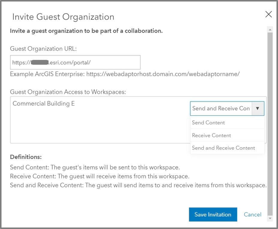 As a host, you will now enter the URL for the Enterprise portal you are collaborating with.