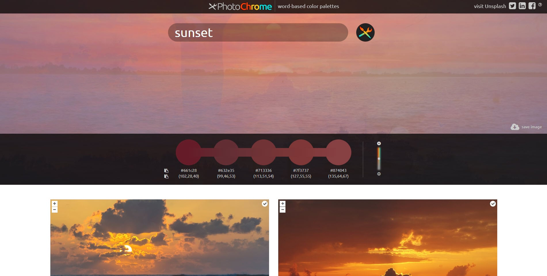 PhotoChrome.io sample showing a search for a sunset.