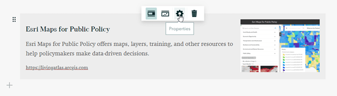 Click the properties (gear icon) in an embed card to customize its appearance.