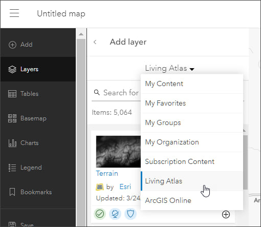 Add from ArcGIS Living Atlas