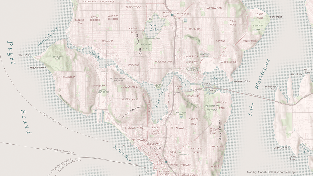 Seattle Map with halftone shoreline
