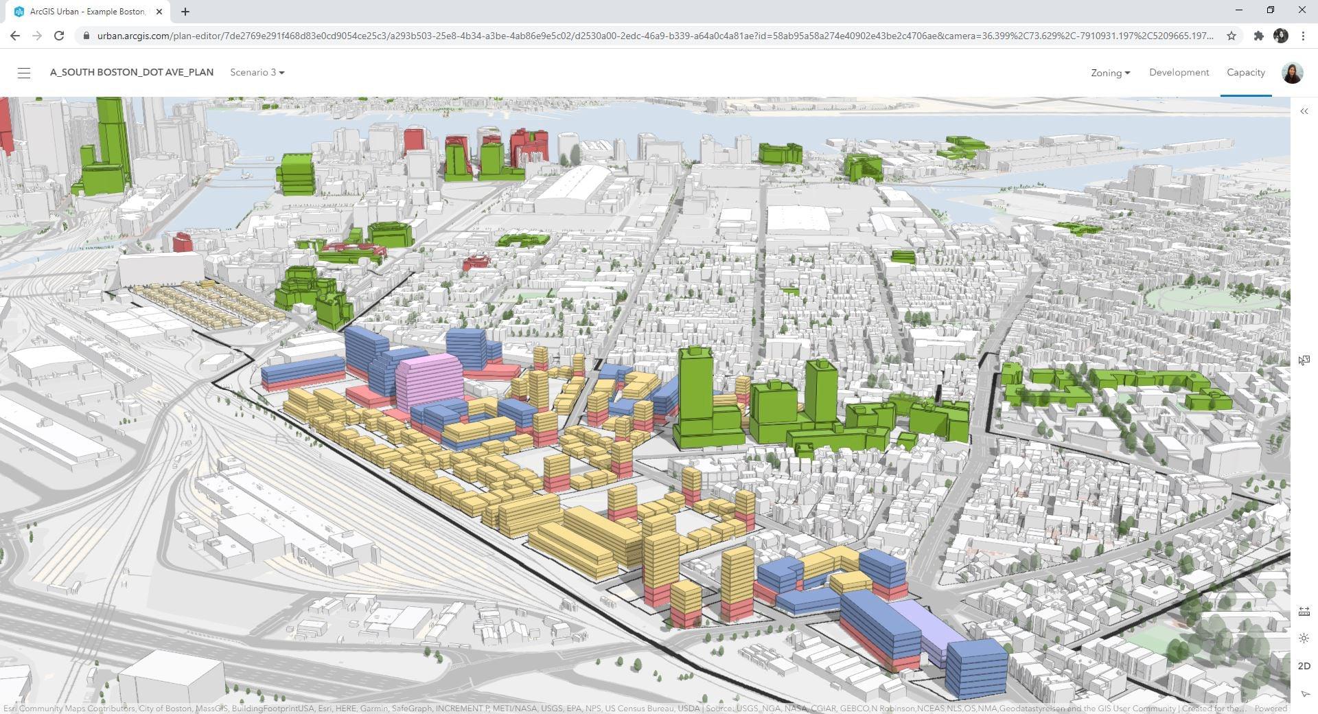 图11:ArcGIS Urban场景的拟议体量和程序