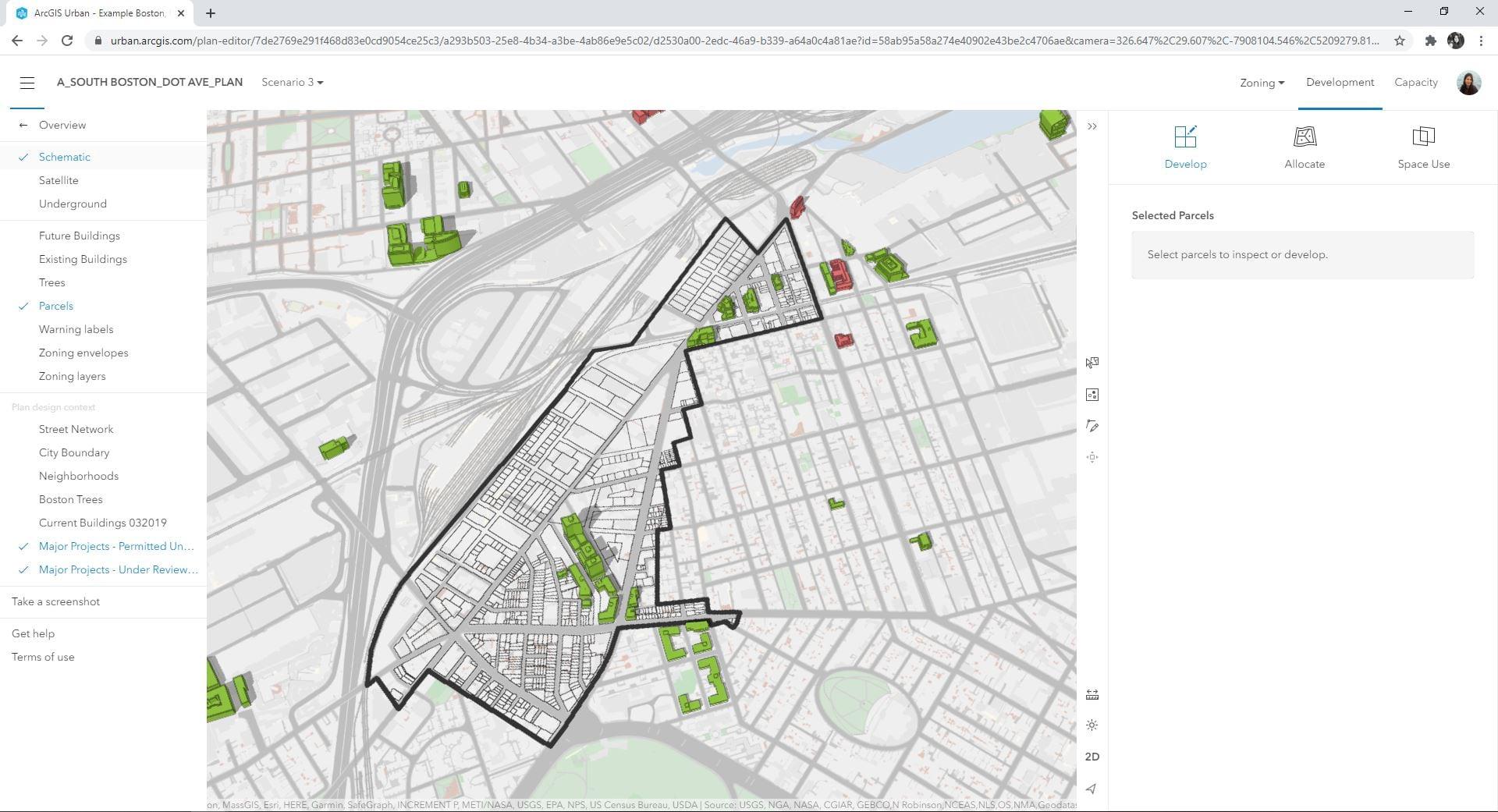 Fig. 9: CityEngine created parcels in ArcGIS Urban scenario