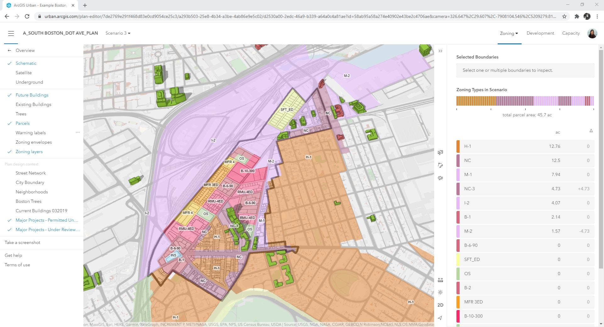 Fig. 10: Proposed Zoning for ArcGIS Urban scenario