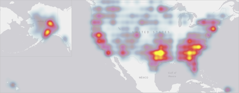 Heat map of wild fires