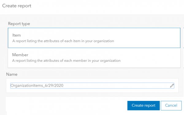 Report creation tool is under Organization > Status > Reports when logged in as an administrator