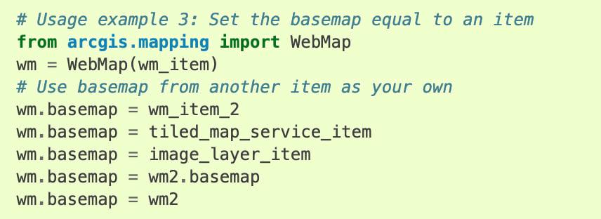 Basemap code snippet