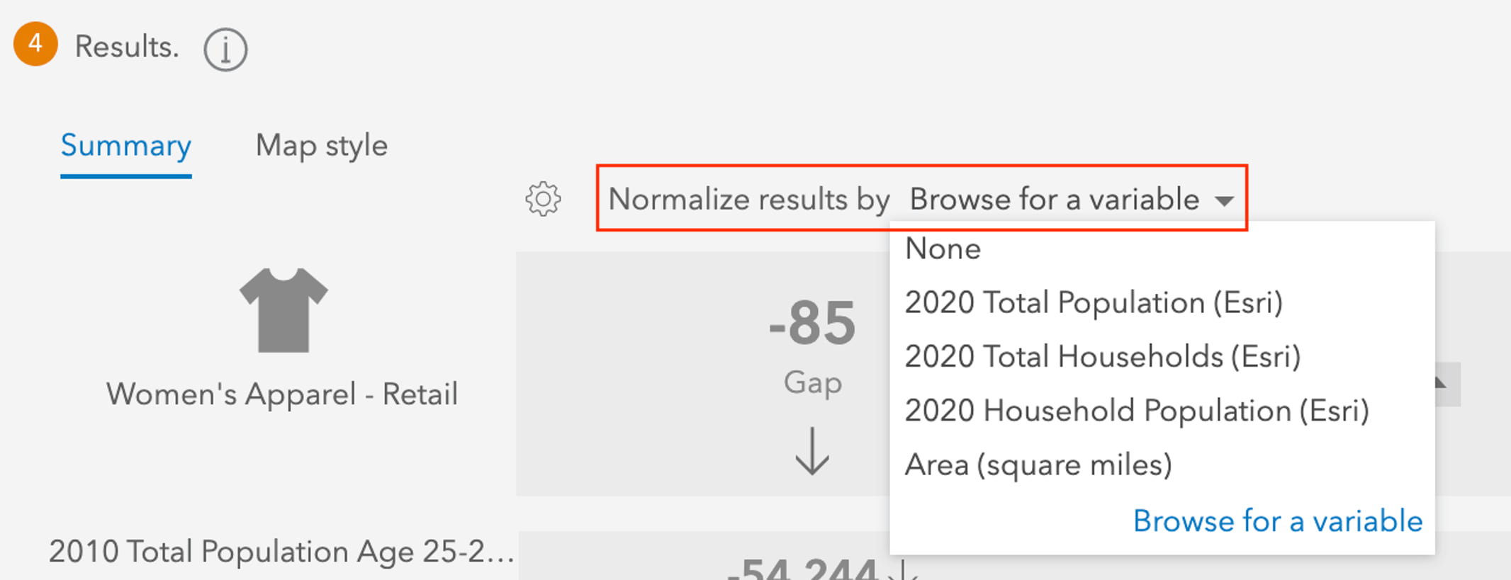 Void Analysis normalization dropdown in ArcGIS Business Analyst Web App