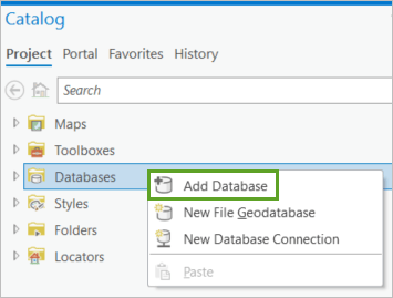 Add Database in the Catalog pane context menu